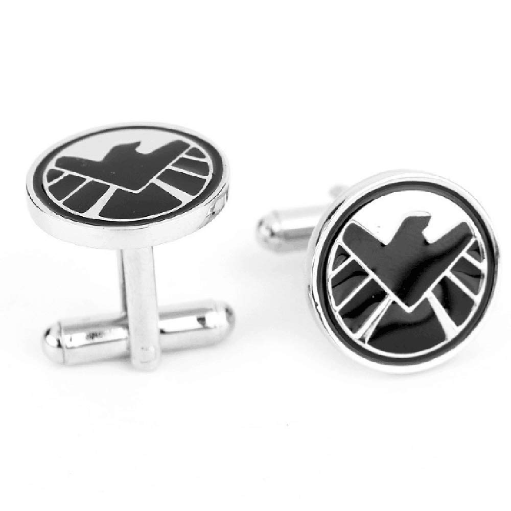 Willimillian Cuff Links,White Gold Onyx Diamond Men's Cuff Links