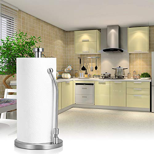 Paper Towel Holder Stand, WeHome Stainless Steel Paper Towel Holder Rack, Tissue Holder Stand for Kitchen, Bedroom, Bathroom Countertop, Easy to Tear