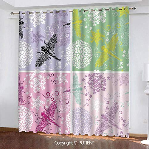 (Satin Grommet Window Curtains Drapes [ Dragonfly,Set of Four Floral Frame Pattern with Dragonfly and Dandelion Blooms Ornate Image,Multicolor ] Window Curtain for Living Room Bedroom Dorm Room Classro)