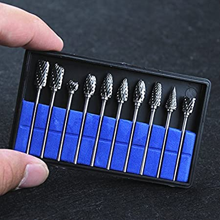 Gold Nxtop 10Pcs Single Cut Tungsten Carbide Rotary Burr Set 1//8 Shank for Die Grinder Drill Rotary Burs Woodworking Engraving Polishing Drilling