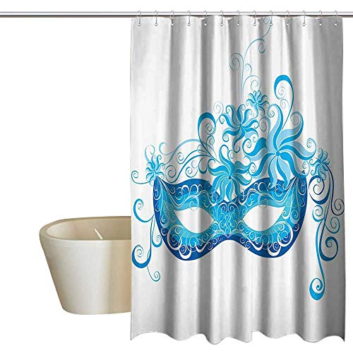 shower curtains blue and grey Masquerade Decorations Collection,Venetian Mask Majestic Impersonating Enjoying Halloween Theme Image Print,Navy Turquoise 60