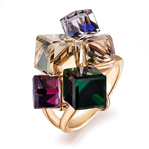 Stone Cluster Ring (dnswez Rose Gold Plated Multi-color Crystals Cluster Cocktail Rings for Women(6))