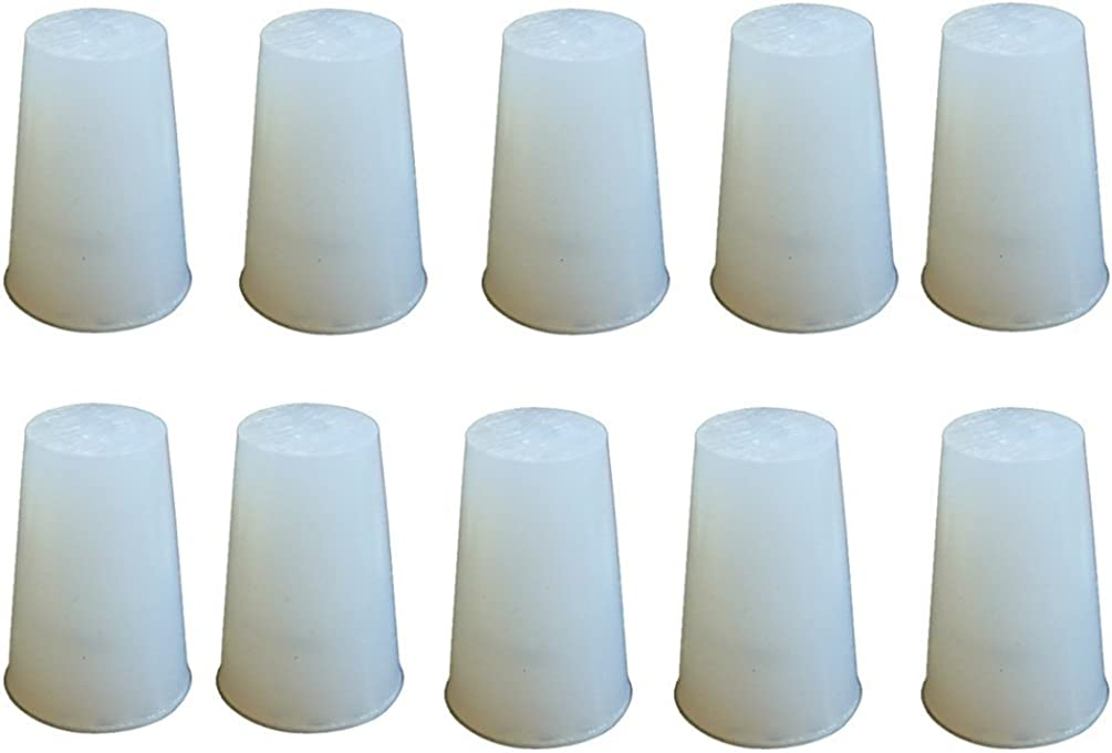 PUL FACTORY Solid Silicone Stopper, Pack of 10, White, No.3