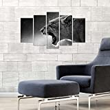 Decorative 100% MDF Wall Art 5 Panels (43'' x 24'' Total) Ready to Hang Painting Wild Lion Animal Africa Dangerous Cat Predatory