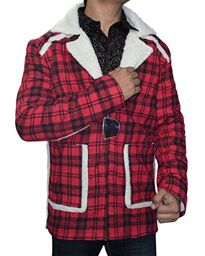 Men Checkered Style Shearling Coat - Red Flannel Shearling Jacket (X-Large)