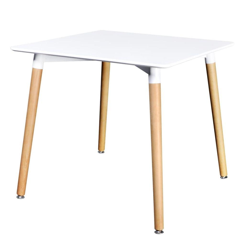 vidaXL Table de salle à manger carrée blanc mat Table de cuisine en MDF et bois