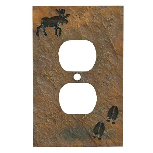 Black Forest Décor Decorative Rustic Outlet Cover for Electrical Switch Plate (Moose Stone)