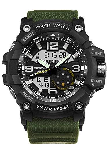 Mens Digital Watches Sport Wrist Watch Analog Quartz Watch Outdoor Multifunction Waterproof Military Watches Black Green 759