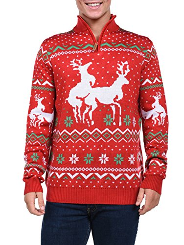 Tipsy Elves Men's Christmas Climax Sweater - Funny Humping Reindeer Ugly Christmas Sweater , Red, Large  ()