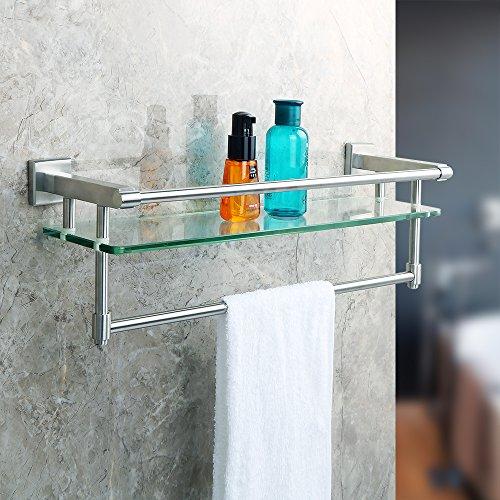 Alise Shower Glass Shelf SUS 304 Stainless Steel Bathroom Shelf with Towel Bar/Rail Wall Mount,Brushed Finish,GK9012
