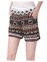 ViviClo Women's Summer Elastic Waist Sexy Hot Pants Plus Size Beach Shorts