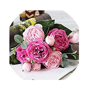 Colorful Rose Peony Artificial Silks Small Bouquet Flores Home Party Wedding Decoration,E 52
