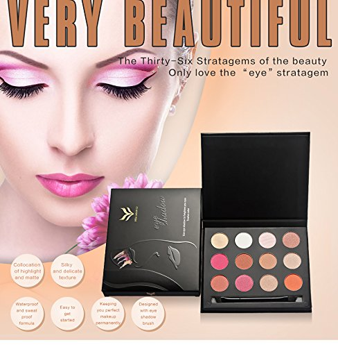 Ladygo Best Pro Eyeshadow Palette Makeup Matte/Shimmer Glitter 12 Colors Eye Shadows Warm Natural Bronze Smoky Highly Pigmented Professional Nudes Cosmetic Set Kit 0.5 Oz.-1# Flower Blooming Series
