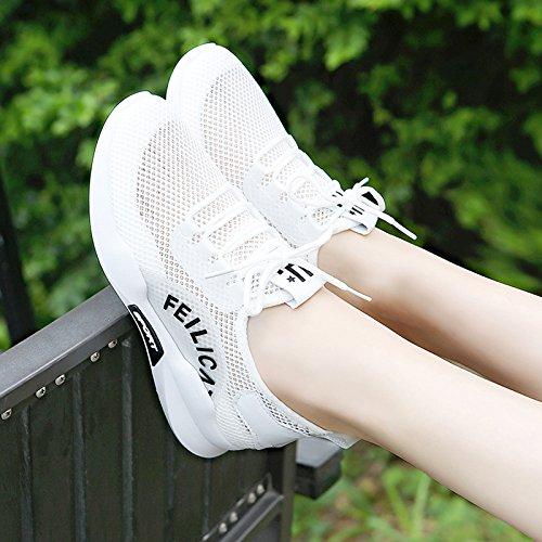 Fondo Fondo Transpirable Zapatos GTVERNH Net Turismo Verano Hembra Correr Casual Deportes Zapatos Salvaje Zapatos De Luz black Red Para Plano Suave qwIOOxpBY