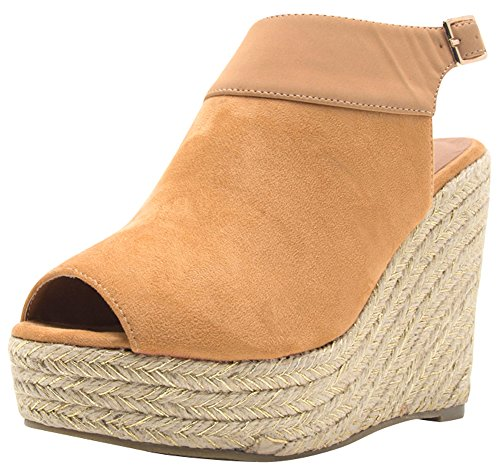 Cambridge Select Women's Peep Toe Slingback Woven Braided Rope Espadrille Wedge Ankle Bootie (8.5 B(M) US, Toffee)