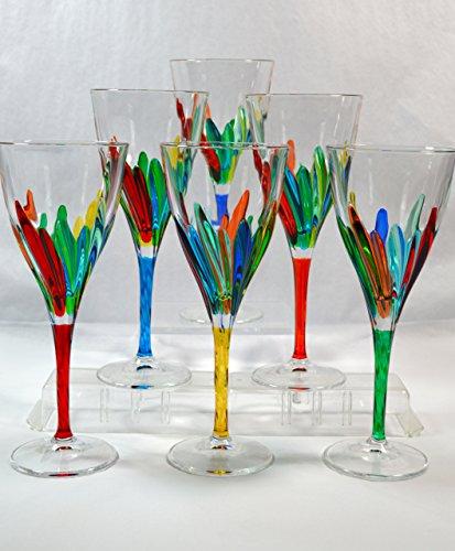 Authentic Italian Wine Glasses, Lines, Murano Glass Set of 6