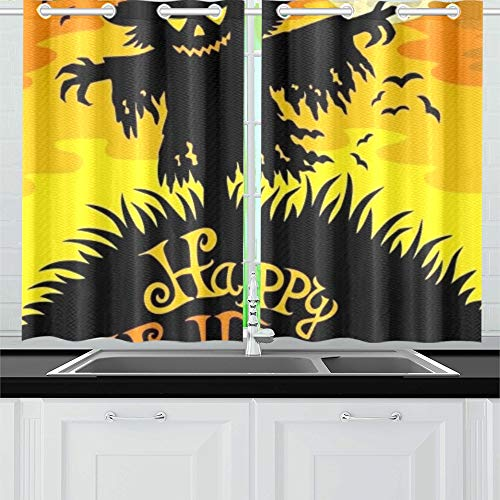 ENEVOTX Happy Halloween Sign Scarecrow Kitchen Curtains Window Curtain Tiers for Café, Bath, Laundry, Living Room Bedroom 26 X 39 Inch 2 Pieces ()