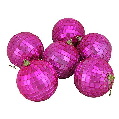 Northlight 6ct Bubblegum Pink Mirrored Glass Disco Ball Christmas Ornaments 3.25