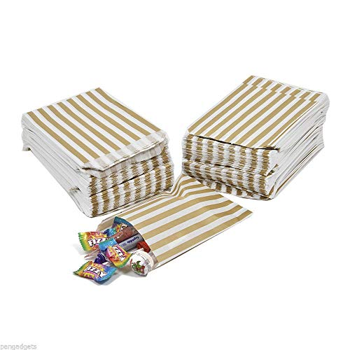 St@llion Gold Candy Bags 5×7 Inch Paper Stripe Bag For Favour Buffet Party Sweets Cake Wedding (200 Pcs)