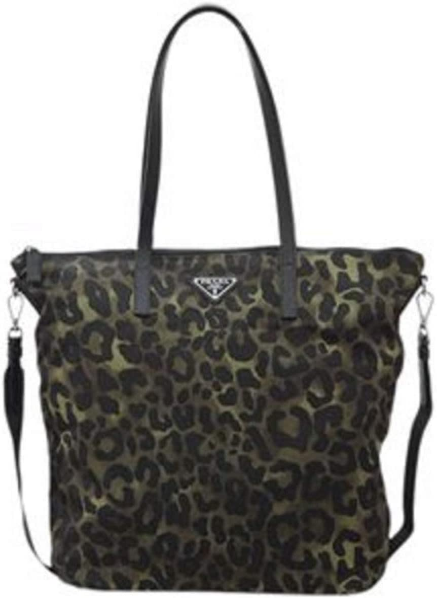 Prada Tessuto Stampat Nylon Shopping Bag in Green Militare Leopard 1BG189