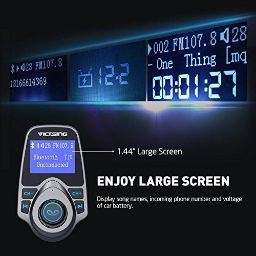 VicTsing Bluetooth FM Transmitter, Wireless In-Car Radio Transmitter Adapter /w USB Port, Support...