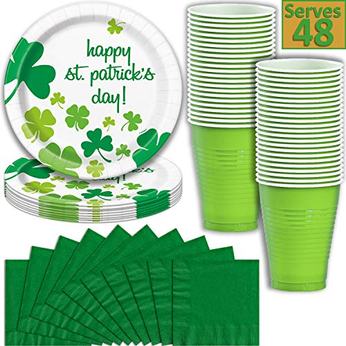 St Patrick's Day Party Supplies, Serves 48 - Plates, Cups (18 oz), & Napkins - Disposable Paper and Plastic Dinnerware w/ Dark and Light Green, Shamrocks, for Saint Patrick and Irish Parties]()