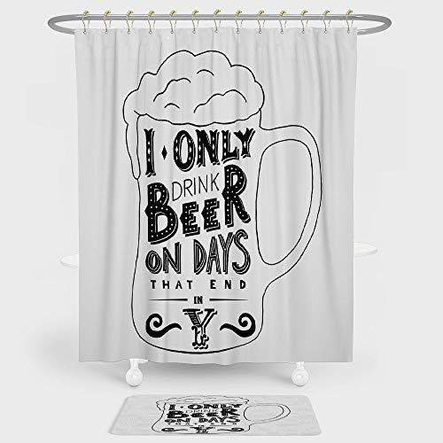 (iPrint Man Cave Decor Shower Curtain And Floor Mat Combination Set Vintage Style Design Mug and Foamy Beer Hipster Calligraphic Art Joke For decoration and daily use Black and White)