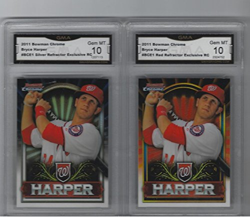 - BRYCE HARPER 2 CARD ROOKIE LOT BOWMAN CHROME REFRACTORS RED & SILVER GEM MINT 10