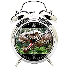 Children's Room Silver Dinosaur Silent Alarm Clock Twin Bell Mute Alarm Clock Quartz Analog Retro Bedside and Desk Clock with Nightlight-151.255_Dinosaurs Prehistoric Jurassic Animal Reptile