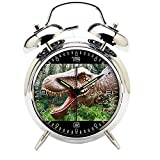 Children's Room Silver Dinosaur Silent Alarm Clock Twin Bell Mute Alarm Clock Quartz Analog Retro Bedside and Desk Clock with Nightlight-151.255_Dinosaurs Prehistoric Jurassic Animal Reptile