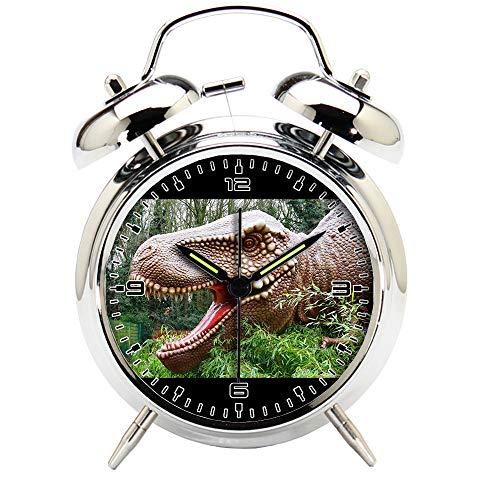Children's Room Silver Dinosaur Silent Alarm Clock Twin Bell Mute Alarm Clock Quartz Analog Retro Bedside and Desk Clock with Nightlight-151.255_Dinosaurs Prehistoric Jurassic Animal Reptile by girlsight