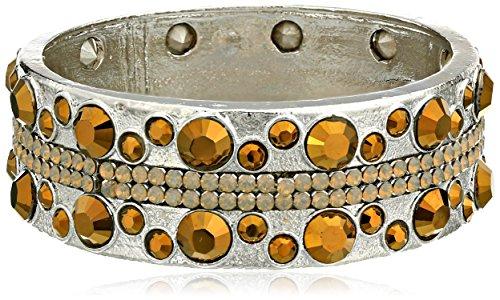"Chamak by priya kakkar Elegant Large Brown and White Encrusted Handmade Silver Bangle Bracelet, 7.5"""