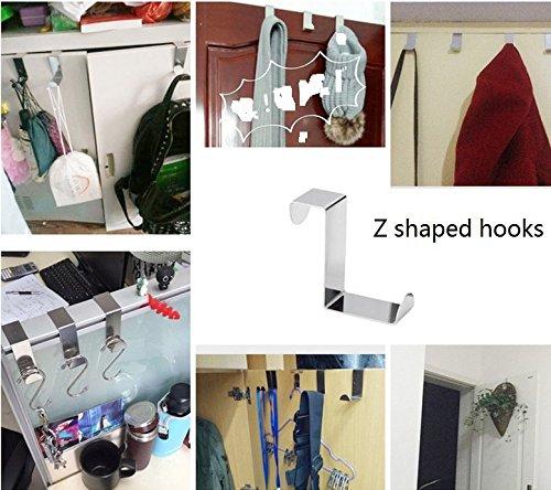 Tsuen 12 Pack Over The Door Hooks Z Shaped Hooks Hangers, Heavy Duty Metal Hanging Hooks Hangers Clothes Storage Rack for Kitchen, Bathroom, Bedroom, Work Shop, Garden and Office (3 x 4.5 x 6cm) by Tsuen (Image #2)
