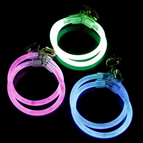 Fun Central 6 Pack - 2.5 Inch Glow Hoop Earrings Bulk Party Favors - Assorted Colors
