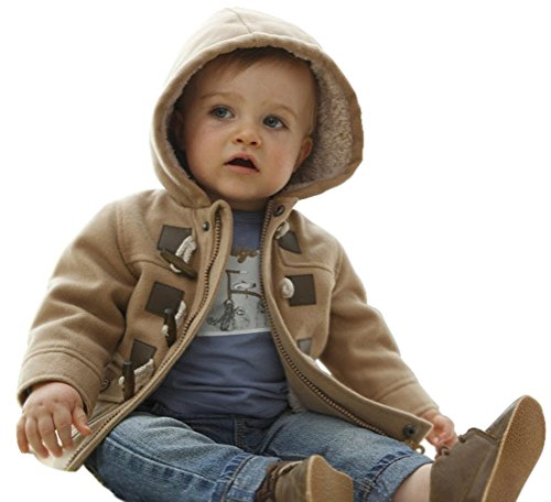 [Baby Boys Cotton Hooded Duffle Coat Toggle Coat Brown 36 Months] (Pattern Toggles)