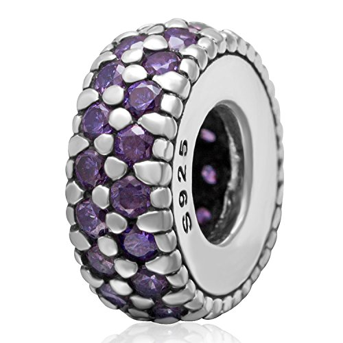 (Spacer Bead charm 925 Sterling Silver Birthstone Charm Crystal Charm Spacing Bead Birthday CHARM Christmas Charm for Charms Bracelets (G))