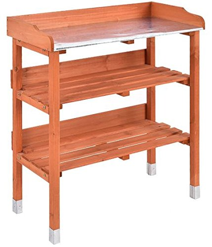 K&A Company Bench Station Potting Work Garden Outdoor Planting Wood Table Storage Patio Solid Construction Shelf Wooden New Yard Gardening With Planter Hook by K&A Company