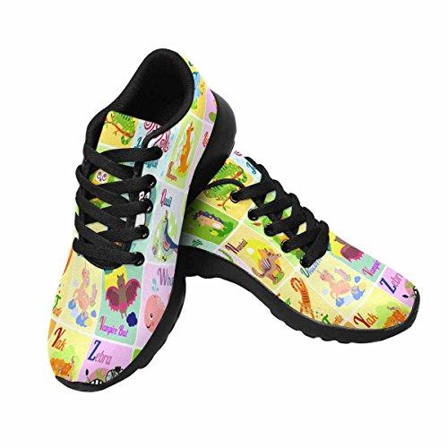 Interestprint Femmes Jogging Running Sneaker Léger Aller Facile Marche Confort Sport Chaussures De Course Mignon Animal Alphabet Multi 1