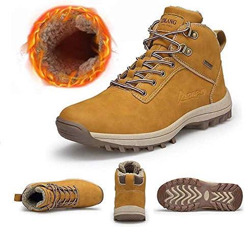 冬の靴の足首のブーツは完全に毛皮を温めスノーブーツ男性は、ウォーキング、トレッキング、ハイキング、屋外、都市のためのアンチスリップ軽量安全作業ブーツを裏地