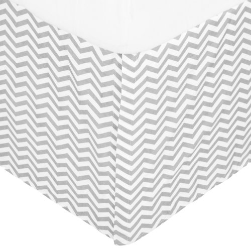 American Baby Company 100% Cotton Tailored Crib Skirt with Pleat, Gray Zigzag, for Boys and Girls (Crib Dust Ruffle Pattern)
