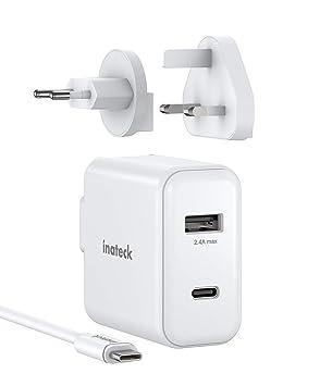 Inateck - Cargador USB C de 2 Puertos (30 W, con Cable USB C ...
