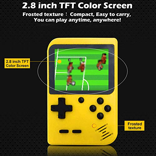 Cywulin Retro Mini Handheld Video Game Console Player Gameboy Built-in 400 Classic Games Travel Portable Gaming System Electronics Machines 2.8 Inch Support TV Play Present for Boy Kids Adult (Yellow)