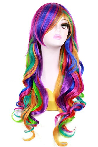 Nuoqi Long Rainbow Rock Ombre Spring Bouquet Cosplay Girls Party Wig ()