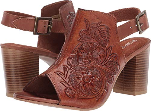 Roper Women's Floral Tooled Leather Mika Mule - Tan - TAN - 8.5 - M