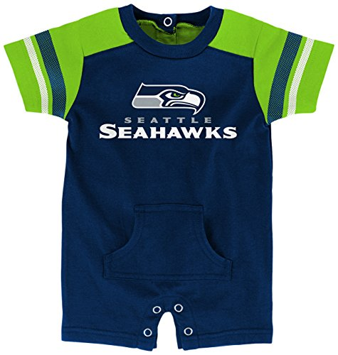 "NFL Infant""Rusher"" Romper-Dark Navy-12 Months, Seattle Seahawks"