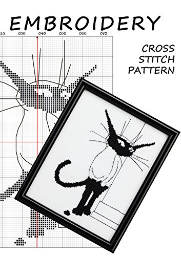 Cross stitch simple pattern embroidery black and white cat silhouette Modern cross stitch white cat black cat ornament Designer cross stitch cat woman black and white statue Cat silhouette decal ()