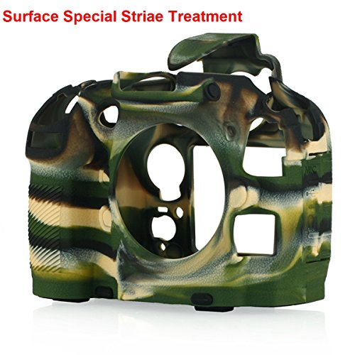 STSEETOP Nikon D800/D800E Camera Housing Case, Professional Silicion Rubber Camera Case Cover Detachable Protective for Nikon D800 D800E (Army Green)