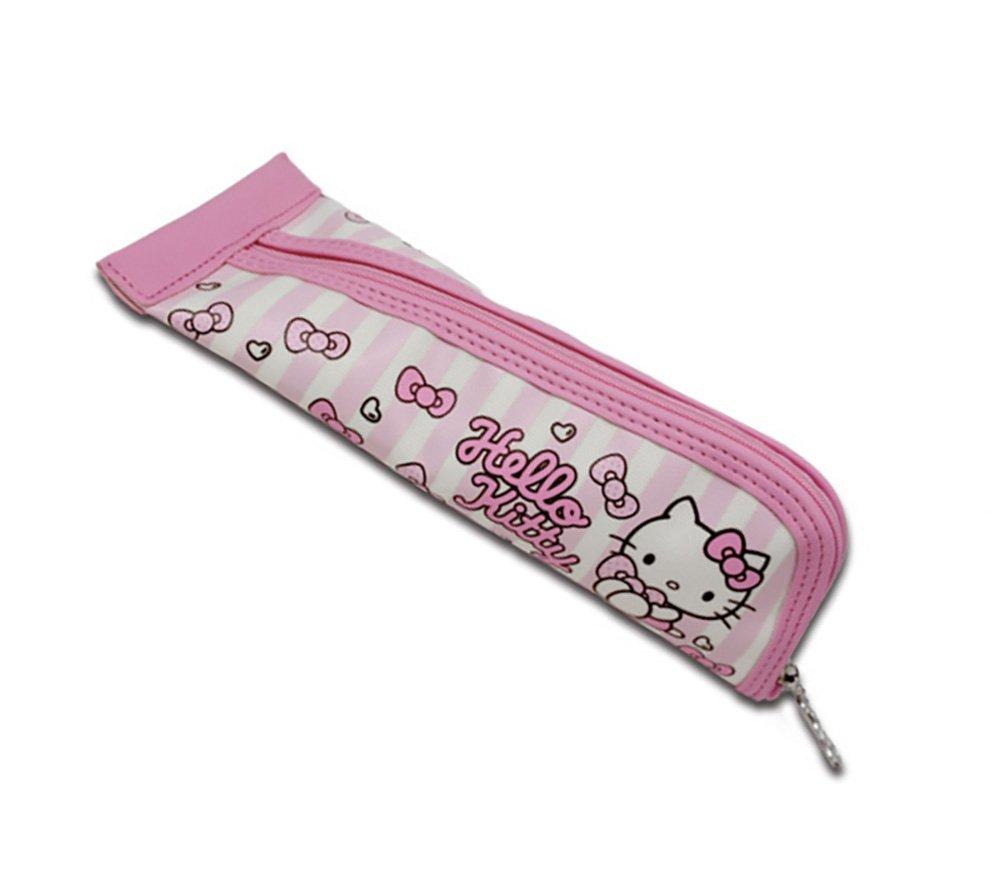 Pink Hello Kitty Triangular Canvas Pencil Pen Case for School Supplies Storage and Organization