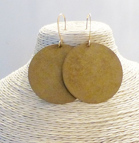 Large Disc Earrings (Extra large Brass Disc Circle Dangle Earrings)