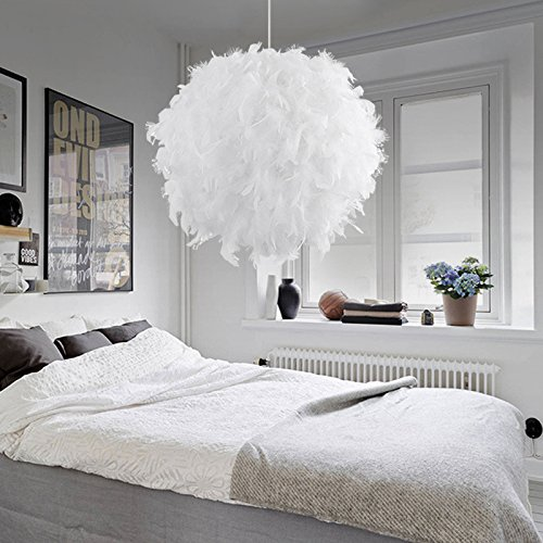 White Feather Ceiling Pendant Light Shade, Large Size 16 Inch Simple Luxury White Feather Ball E27 Lampshade Floor Lamp Decorative Droplight Shade for Living Room Bedroom by LOVFASHION (Image #4)
